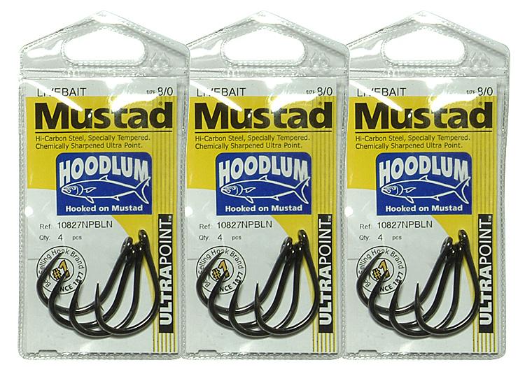 Mustad Hoodlum Live Bait Fishing Hooks Opti-Angle Needle Point 4x Extra Strong