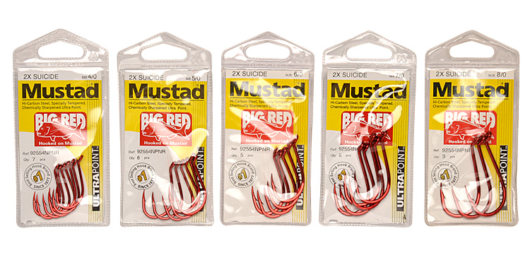 octopus pilchards squid crabs 92554 NPNR Details about  /Mustad Big Red Suicide Fishing Hooks